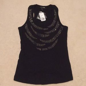 Black tank with beaded detail